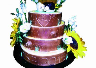 4 stöckige Hochzeits Torte mit Blumen